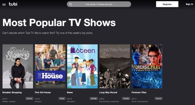 Tubi TV is the largest free TV series streaming site