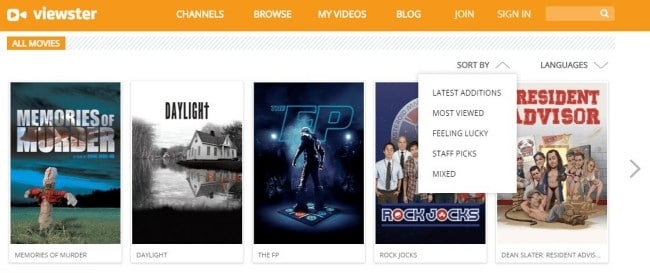 Viewster- legal movie streaming free at school