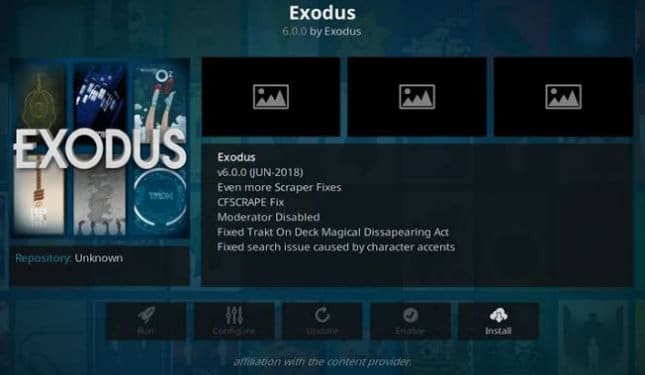 Exodus kodi addons for films and TV series