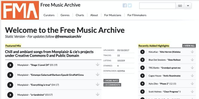 Free Music Archive- free music download sites for legal songs