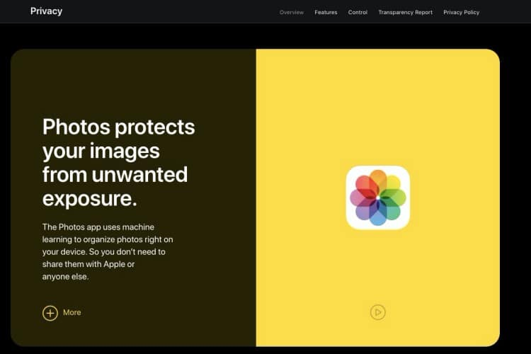 Apples redesigned privacy policy page
