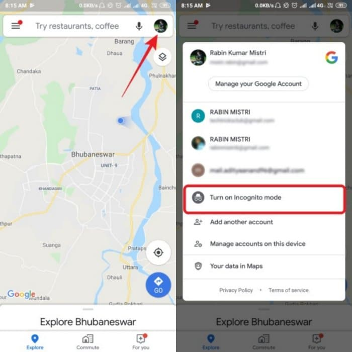 Google Maps enable Incognito mode