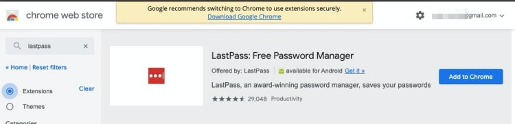 Google Chrome Web Store shows warning for Edge browsers